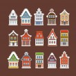 Colorful traditional Amsterdam vintage houses collection — Stock Vector #35501391