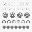Different phases of speedometer icons — Stock Vector