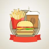 Traditional fast food menu advertising template — 图库矢量图片