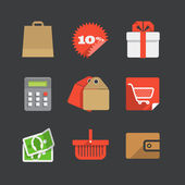 Trendy modern color shopping icons set — Stock Vector