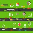 Transportation scheme with infographic elements — Stock Vector
