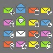 Collection of color mailing web icons — Imagen vectorial