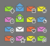 Collection of color mailing web icons — Stock Vector