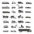 Modern and retro transport silhouettes collection isolated on wh — Stock Vector