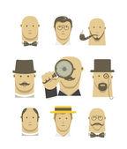 Vintage detective gentlemen characters set — Stock Vector