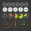 Different phases of clocks. Icon collection — Stock Vector