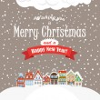 Christmas greating card. Vintage buildings with snowfall on Wint — Stock Vector
