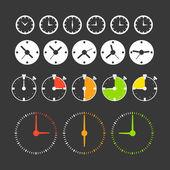 Diferentes fases de relojes. colección de iconos — Vector de stock