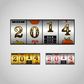Slot maching with 2014 digits set — Stock Vector