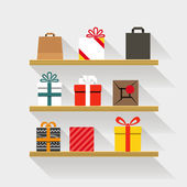Flat design gifts on book shelves. Template for a content — Stock Vector