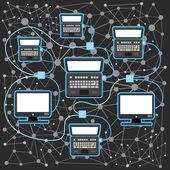 Abstract scheme of modern computer network — Stock Vector