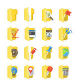 Yellow folders collection with different content — Stock Vector