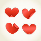 Group of red paper hearts. Happy Valentines Day — Vettoriale Stock