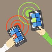 Mobile phone information transfer illustration — Stock Vector