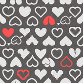 Different abstract heart icons seamless background — Vettoriale Stock