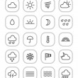 Weather forecast web icons collection isolated on white — Stok Vektör