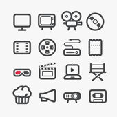 Different video industry icons set with rounded corners. Design — Stock Vector