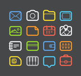 Different color Web icons set with rounded corners. Design eleme — Stock Vector