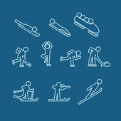 Winter sports silhouettes vector collection — Stockvektor
