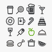 Different drinks and food icons set. Design elements — Stock Vector
