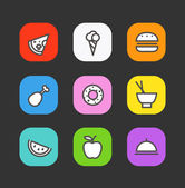 Simple style different food icons collection — Stok Vektör