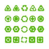Collection d'icônes différentes recycle isolé sur blanc — Vecteur