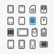 Different mobile phones icons set with rounded corners — Stock Vector