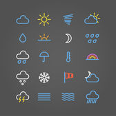 Weather forecast color web icons collection — Stock Vector