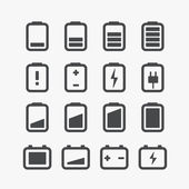 Different accumulator status icons set with rounded corners. Des — Stock Vector