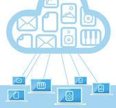 Modern cloud technology computer network — Stock Vector