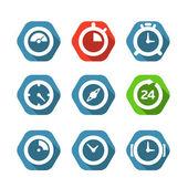 Coleção de botões de relógio diferentes isolada no branco. projeto ele — Vetor de Stock