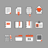 Office documents vector icons set — Stock Vector