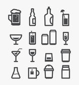 Different drinks icons set. Design elements — Stock Vector