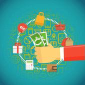 Modern digital shopping. Design concept — Stock Vector