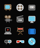 Different color media industry icons set — Stock Vector