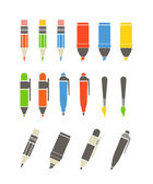 Paint and writing tools collection. Flat design — Stok Vektör