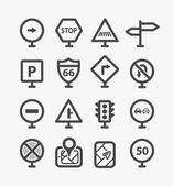 Different road signs set with rounded corners. Design elements — Stock Vector