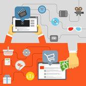 Digital media industry. Flat design concept — Stock Vector