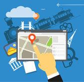 Travel destination vector illustration, Flat design — Stock Vector