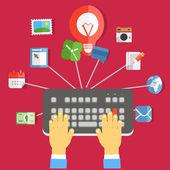Digital media industry. Flat design concept — Vettoriale Stock