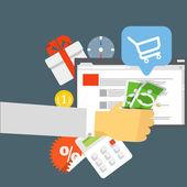 Modern digital shop concept. Flat design — Stock Vector