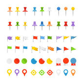Navigation pins, flags and insignias collection — Stock Vector