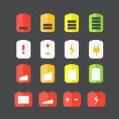 Different accumulator status icons. Flat design icons — Stock Vector