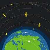 Abstract global modern flying transport scheme — Stock Vector