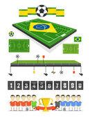 Soccer match infographic elements. Flat design — Stock Vector