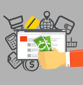 Internet commerce illustration. Flat design concept — Stock Vector