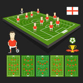 Soccer world cup team presentation. England team — Stock Vector