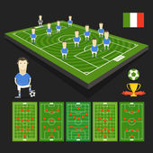 Soccer world cup team presentation. Italy team — Stock Vector