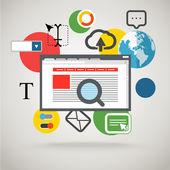 现代的界面的浏览器窗口。通信概念 — 图库矢量图片