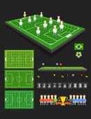 Soccer match infographic elements. Flat design — Stock Vector
